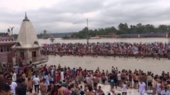Holy bath in holy river Ganga  at Haridwar 3 Stock Footage