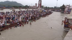 Bathing in River Ganga at Har ki Pauri, River Ganga, Haridwar-2 Stock Footage
