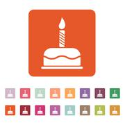 The birthday cake with candles icon. Dessert symbol. Flat - stock illustration