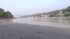 Sky Walk/Ram Jhula over Ganga River in Rishikesh 2 Stock Footage