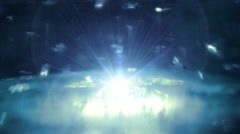 Starburst space travel background. Star flies up from the glow Stock Footage
