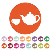 The teapot and cup icon. Tea symbol. Flat - stock illustration
