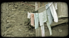 Clothes Line. Vintage stylized video clip. Stock Footage