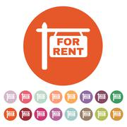 The for rent icon. Rent symbol. Flat - stock illustration