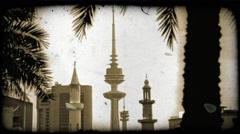 Kuwaitee sky scrapers. Vintage stylized video clip. Stock Footage