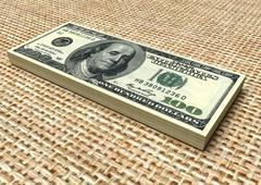 Money stack. Dollars - stock photo
