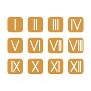 Set Roman numerals 1-12 icon. vector Stock Illustration