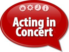 Stock Illustration of Acting in Concert Business term speech bubble illustration