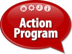 Action program Business term speech bubble illustration Stock Illustration