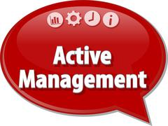 Active management Business term speech bubble illustration - stock illustration