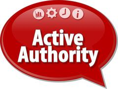 Active authority Business term speech bubble illustration - stock illustration