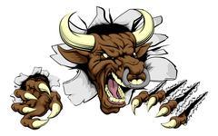 Stock Illustration of Bull sports mascot concept