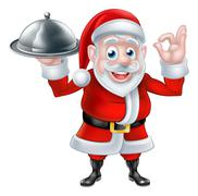 Santa Chef Holding Christmas Dinner - stock illustration