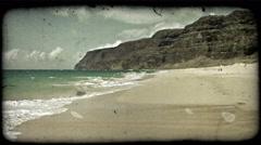Beautiful Hawaiian beach. Vintage stylized video clip. Stock Footage