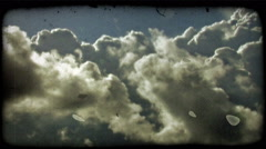 Clouds 1. Vintage stylized video clip. Stock Footage