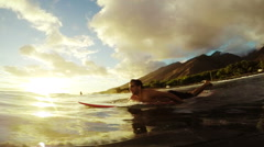 Sunset Paddle Surfing Stock Footage
