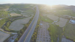 Aerial view of organic fields, green gardens at countryside. Rural landscape Stock Footage