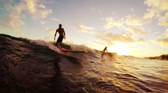 Goilden Sunset Surfing Stock Footage