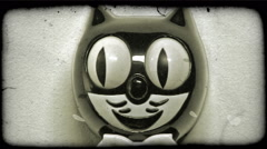 Close-up shot of a Felix the Cat clock. Vintage stylized video clip. Stock Footage