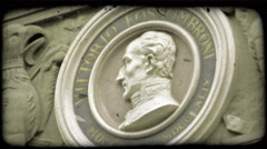 Static shot of a bust of Vittorio Fossombroni. Vintage stylized video clip. Stock Footage