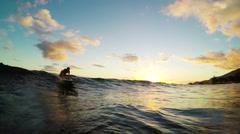 Beautiful Girl Sunset Surfing Stock Footage