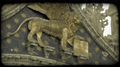 Gold Winged Lion. Vintage stylized video clip. Stock Footage