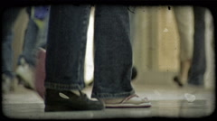 Crowded hallway. Vintage stylized video clip. Stock Footage
