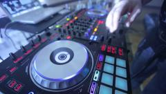 Stock Video Footage of Dj Hands Playing on Music Mixer in Disco Club