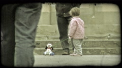 Little girl playing 1. Vintage stylized video clip. - stock footage