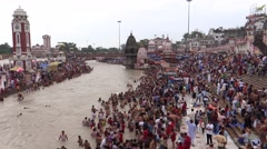 Holy bath in holy river Ganga  at Haridwar 1 Stock Footage