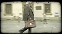 Man walking 3. Vintage stylized video clip. - stock footage