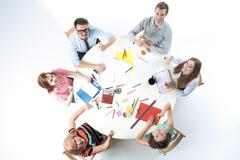 Top view of business team on workspace background - stock photo