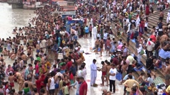 Bathing in River Ganga at Har ki Pauri, River Ganga, Haridwar-7 Stock Footage