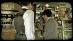 Men in Store. Vintage stylized video clip. Stock Footage