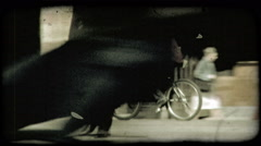 Man Rides Bike 3. Vintage stylized video clip. Stock Footage