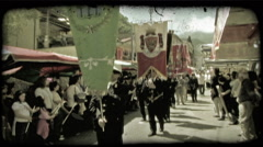Flag Bearers. Vintage stylized video clip. - stock footage