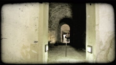 Dark Tunnel. Vintage stylized video clip. Stock Footage