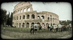 Sightseeing at the Roman Colosseum in Rome, Italy. Vintage stylized video clip. Stock Footage
