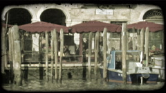 Italian Pier. Vintage stylized video clip. Stock Footage