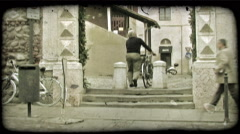 Man and Bike 1. Vintage stylized video clip. Stock Footage