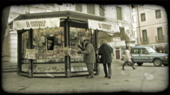 Newspaper stand. Vintage stylized video clip. - stock footage