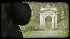 Walking Man 9. Vintage stylized video clip. - stock footage