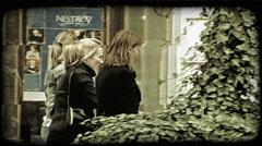 Women walking. Vintage stylized video clip. Stock Footage
