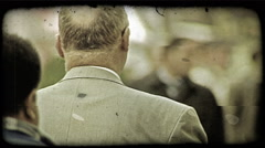 Men Walking. Vintage stylized video clip. Stock Footage