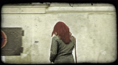 Woman walking. Vintage stylized video clip. Stock Footage