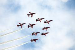 Red Arrows RAF Display Team - stock photo