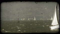 People in sailboat. Vintage stylized video clip. Stock Footage