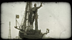 Statue in Moscow. Vintage stylized video clip. Stock Footage