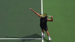 Tennis Player Serves. Stock Footage