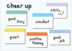 cheer up wording post it white graph background - stock illustration